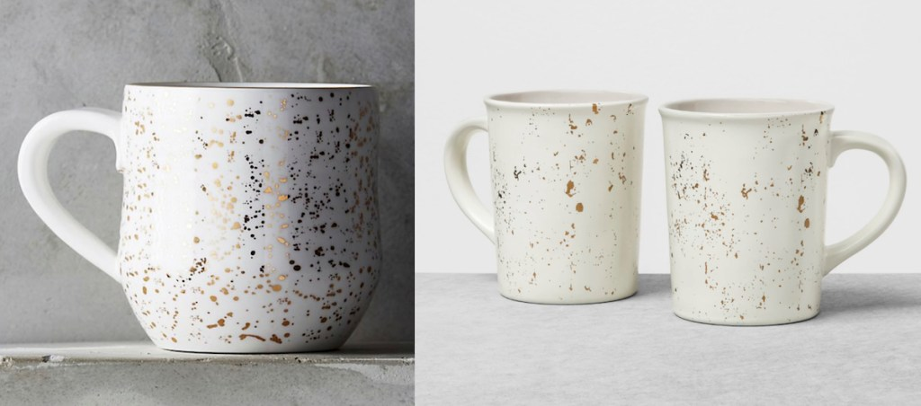 anthropologie target speckled coffee mugs ivory and cream with gold