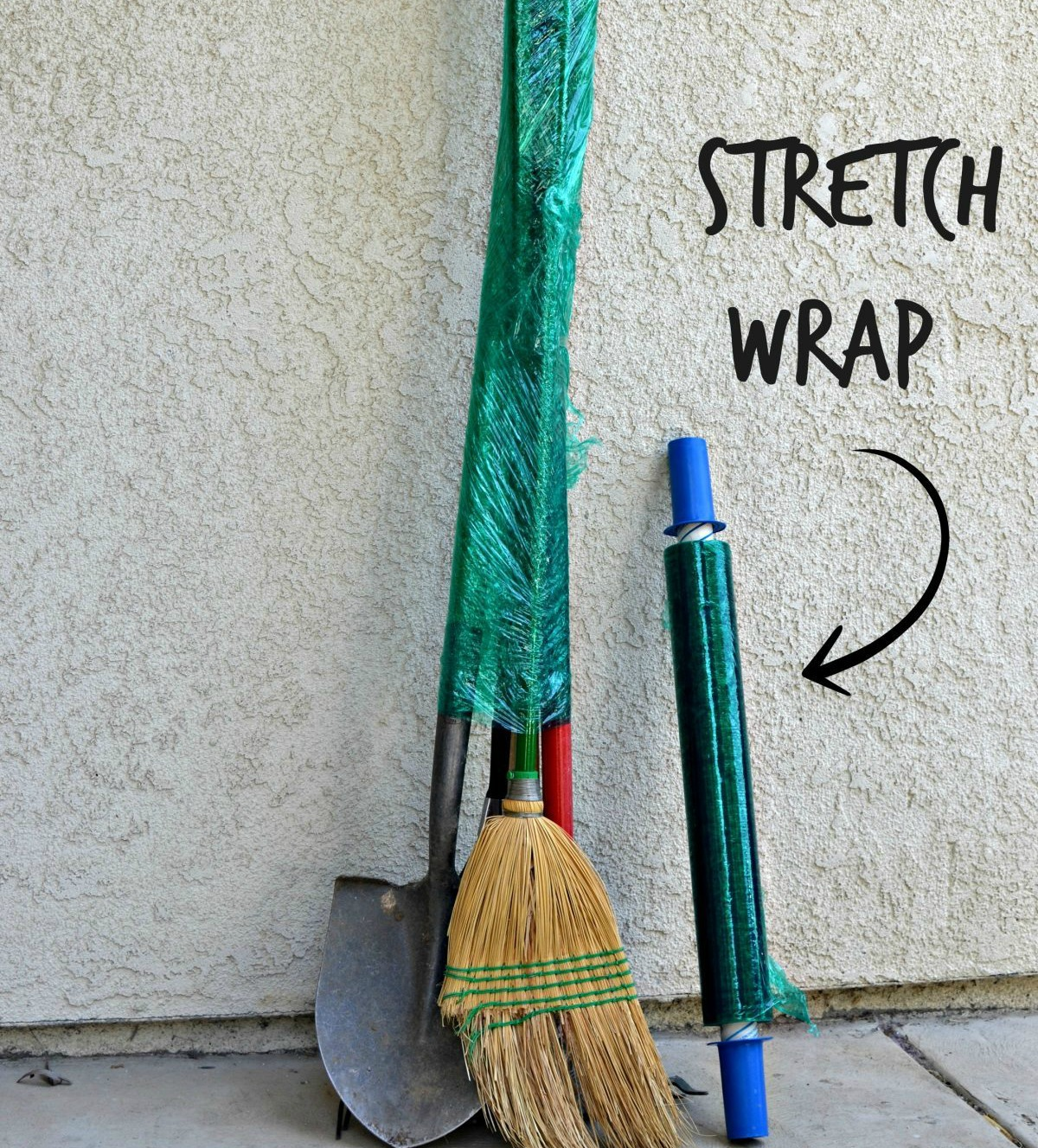 stretch wrap used around brooms and other long-handled tools