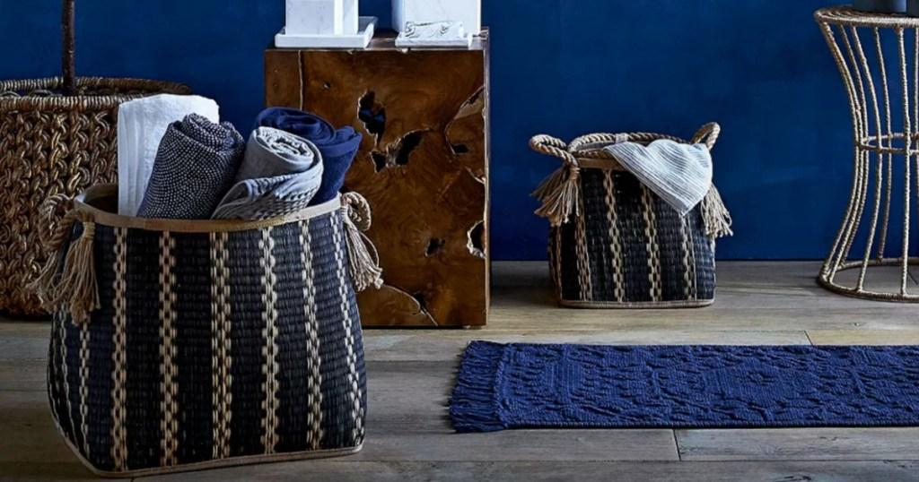 Britannica mesa hand-woven seagrass basket