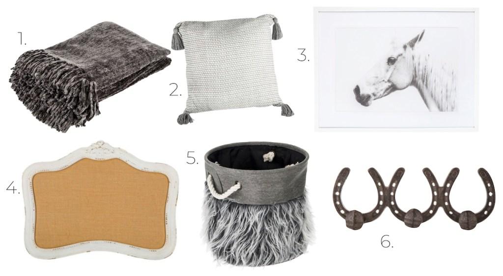 Gray room decor blanket tassel pillow horse print cork board faux fur basket horseshoe hooks
