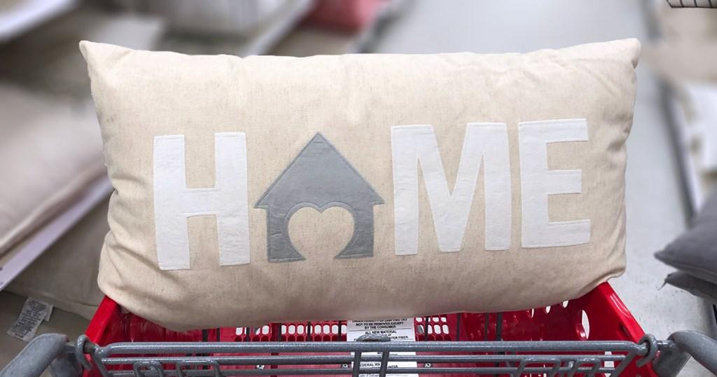 """target pillows — cream lumbar pillow that spells out """"home"""""""