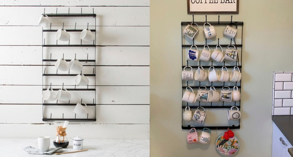 two iron metal mug racks side by side with assorted white coffee mugs on wall