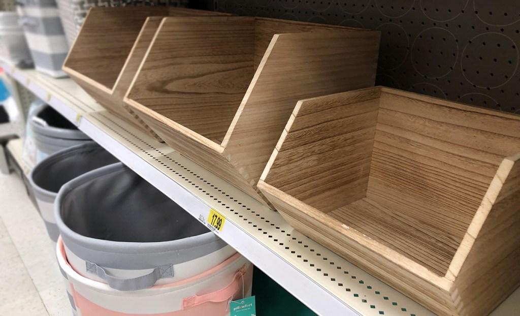 grown up Pillowfort items — stackable wooden storage bins