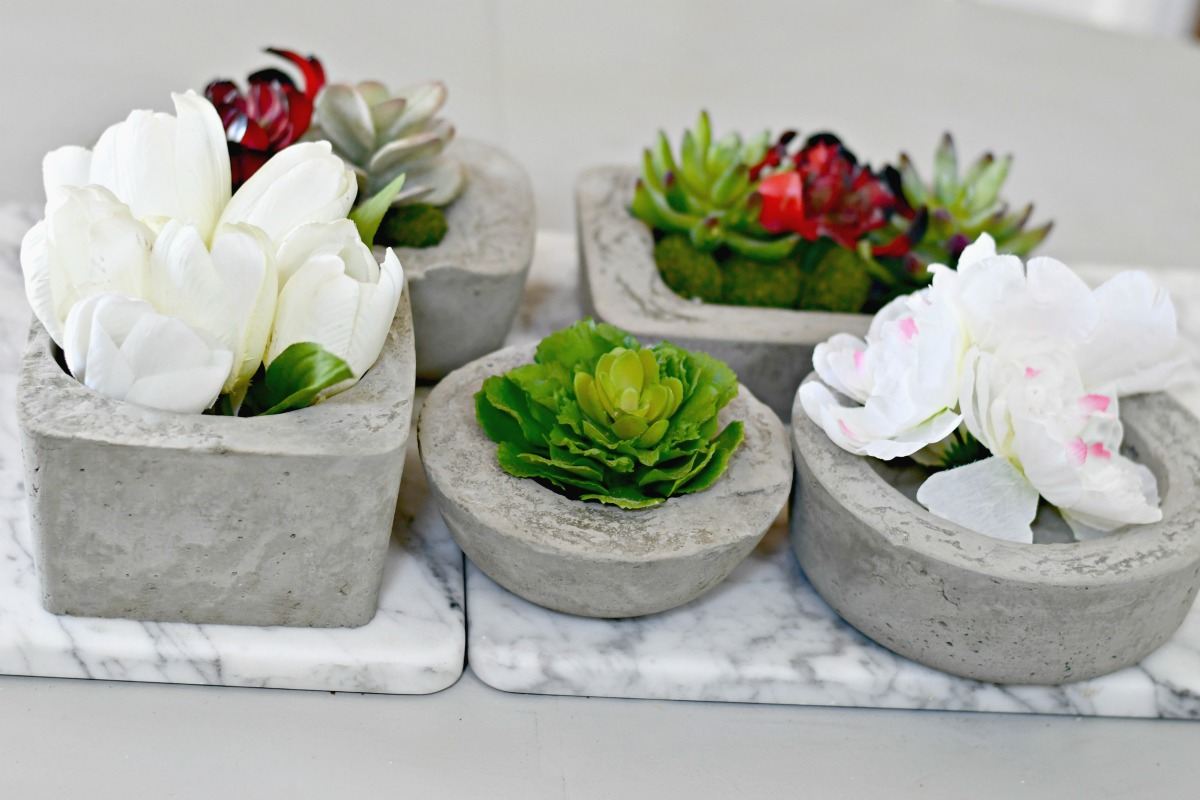 concrete planters arranged on a tray with plants