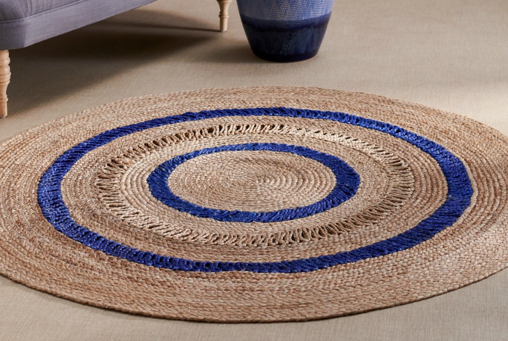 Drew Barrymore Round Blue Stripe Jute Area Rug