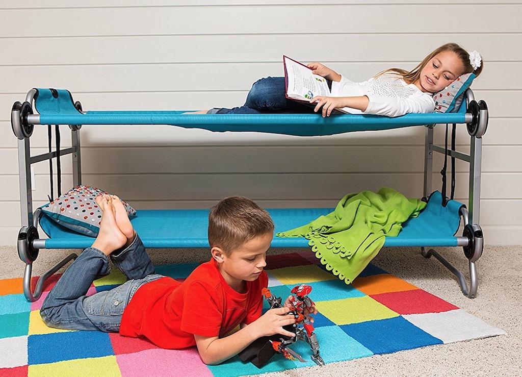 blue kids portable bunk bed