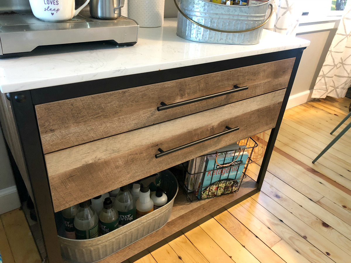 Threshold Derry Stone Top Mixed-Material Kitchen Island