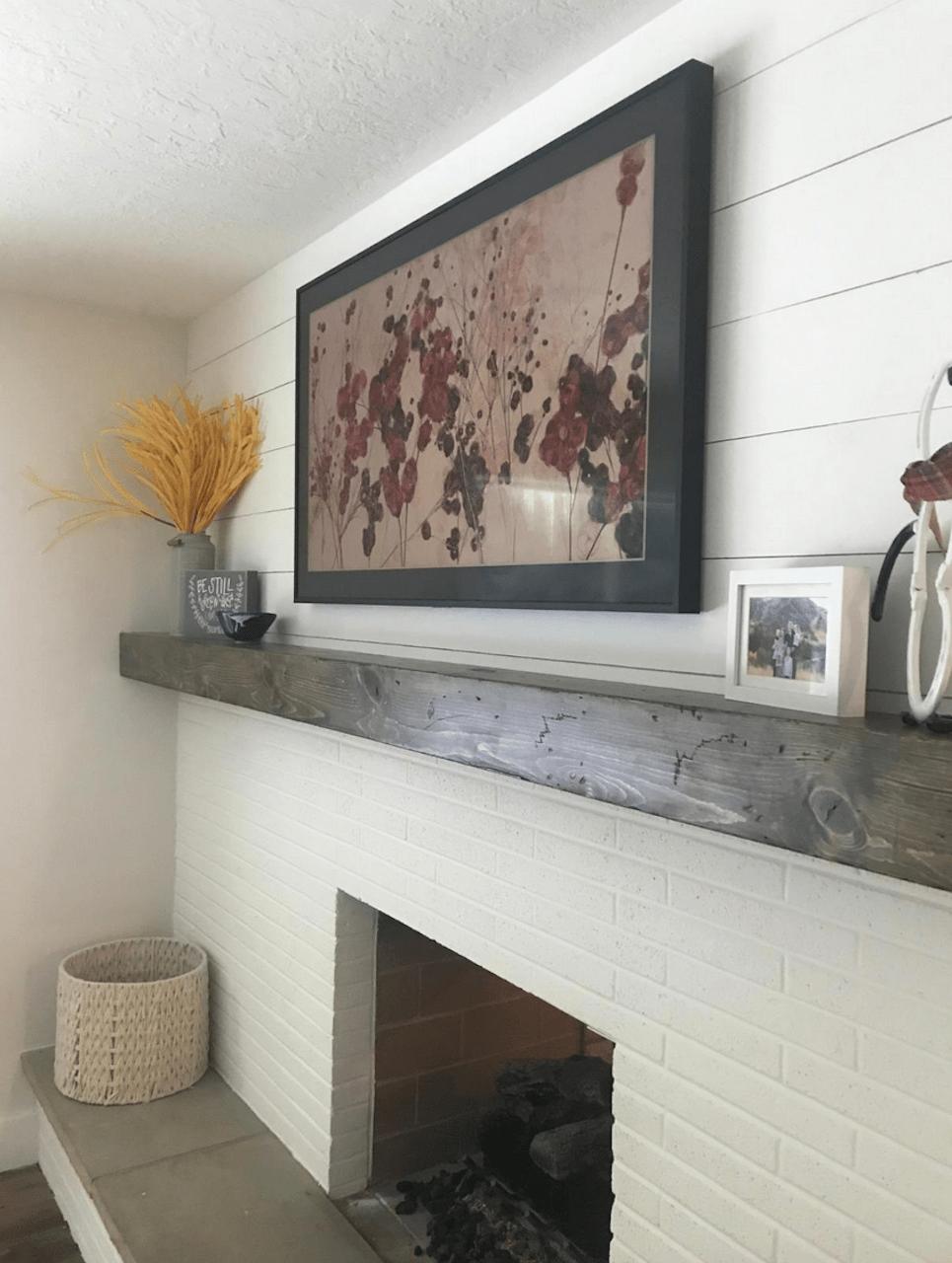 Samsung Frame TV over brick fireplace