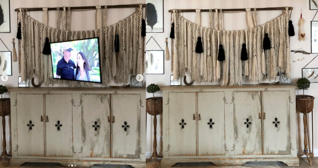 before and after of tv hiding behind macrame banner with wood cabinet below