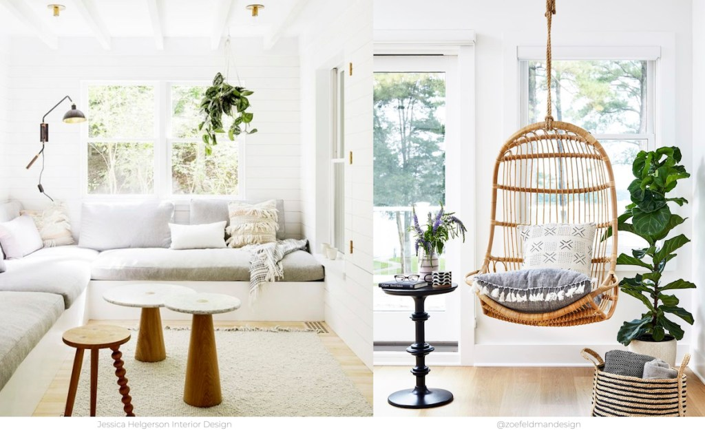 side by side photos of bright living room spaces hanging green plants and rattan chair from ceiling