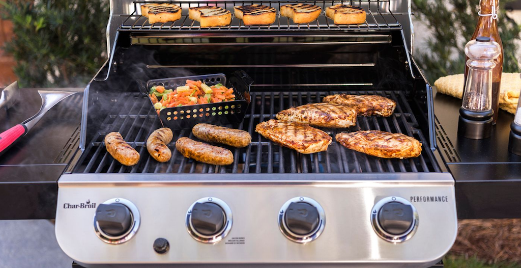 Char-Broil Grill with chicken and sausage