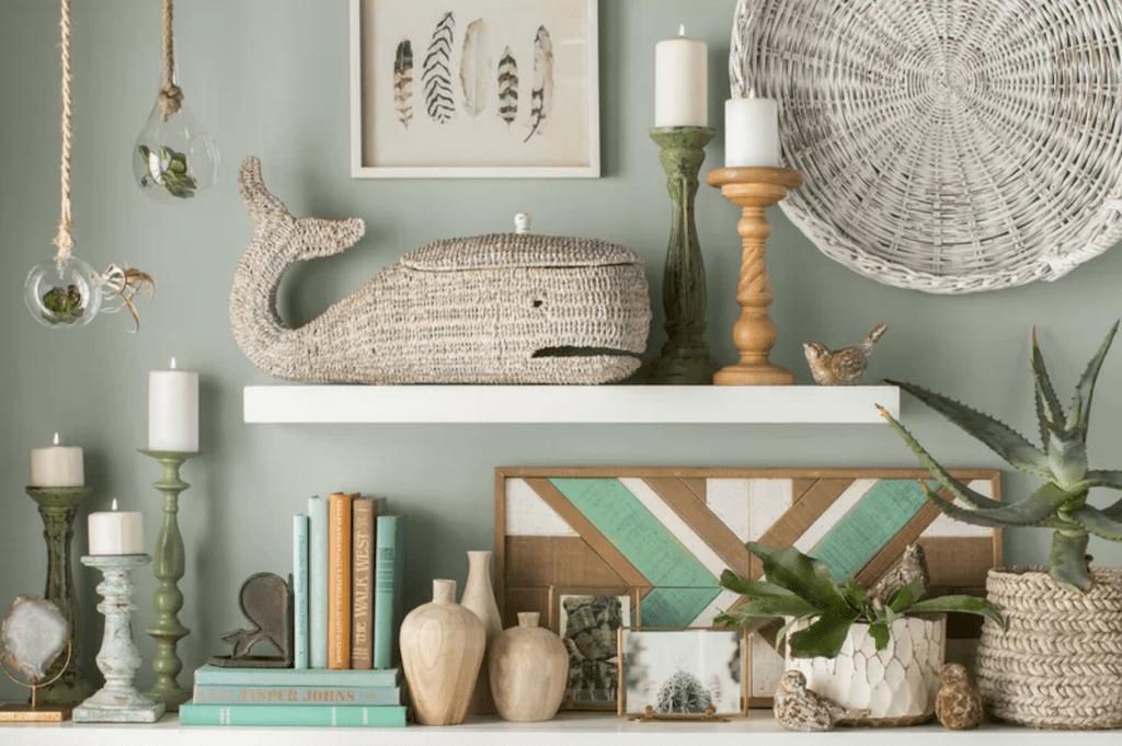 open shelving with coatsal farmhouse decor