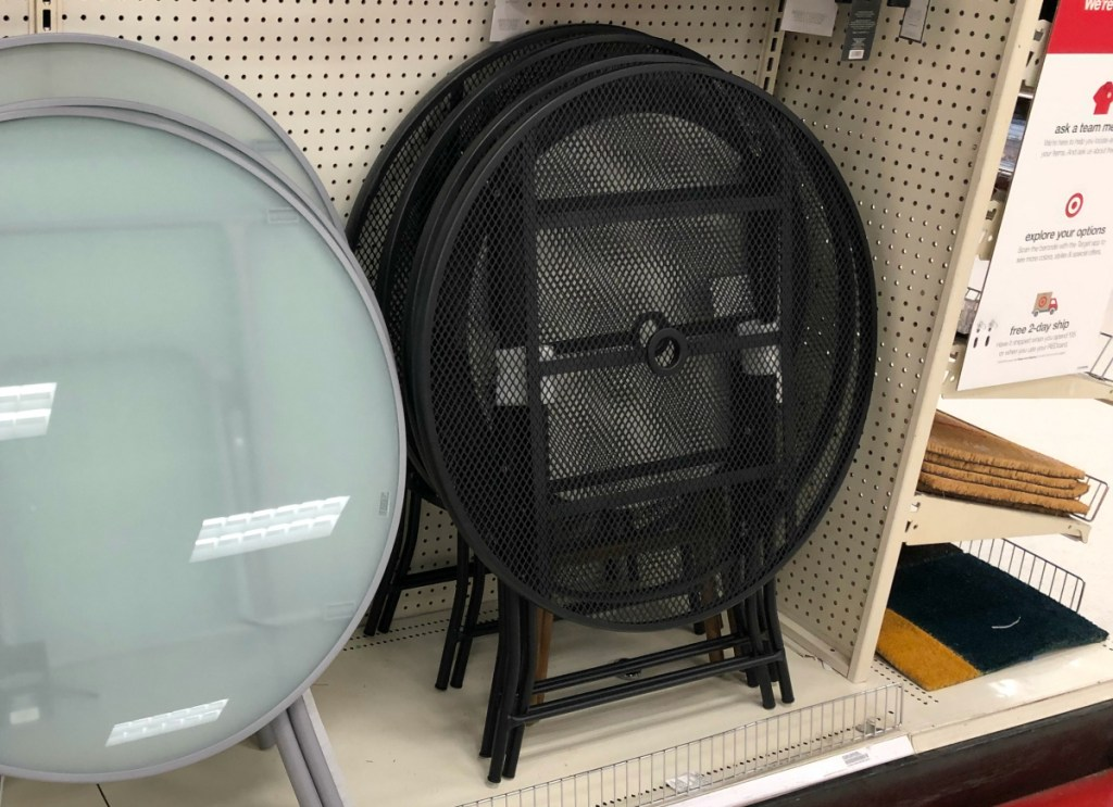 this metal folding patio table set is