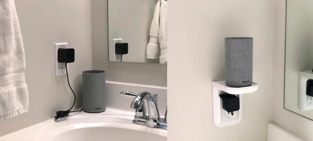 before and after with Amazon Alexa on white outlet shelf