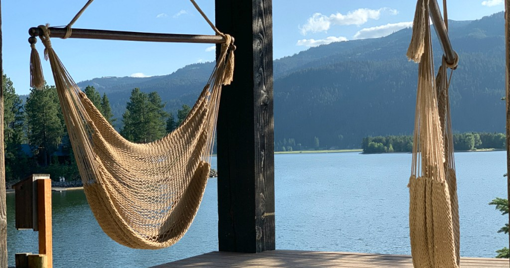 hanging hammock chair with view of the lake