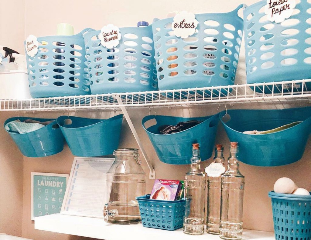 laundry room with dollar tree baskets
