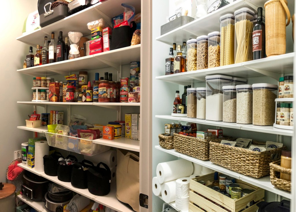 before and after of dirty and clean organized pantry