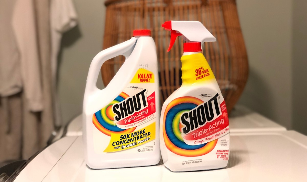shout bottles of stain remover in laundry room
