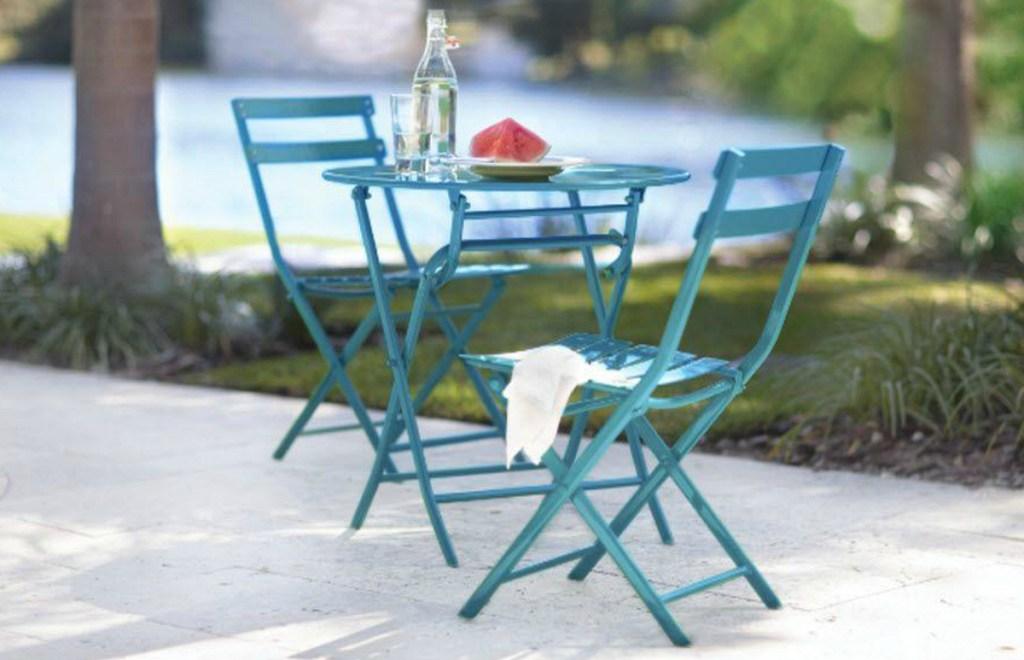 blue bistro patio set outdoors
