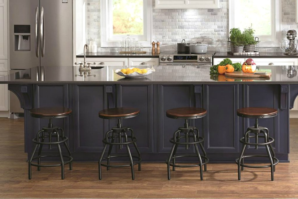 kitchen with industrial bar stools