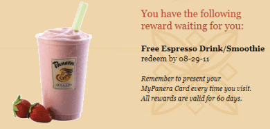 Just by signing up for a new card and instantly reviewing my available rewards, I was eligible to receive a Free Espresso Drink/Smoothie on my next visit ...