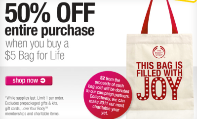 037da31ff The Body Shop  50% Off Your Entire Order w   5 Bag Purchase + Free ...