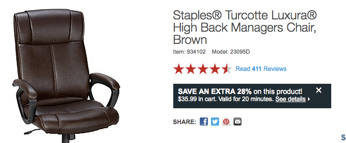 staples turcotte chair brown stryker 5050 stretcher luxura high back managers only 35 99 reg important note once you have gotten the pop up offer as pictured above ll 20 minutes to complete your order snag it with
