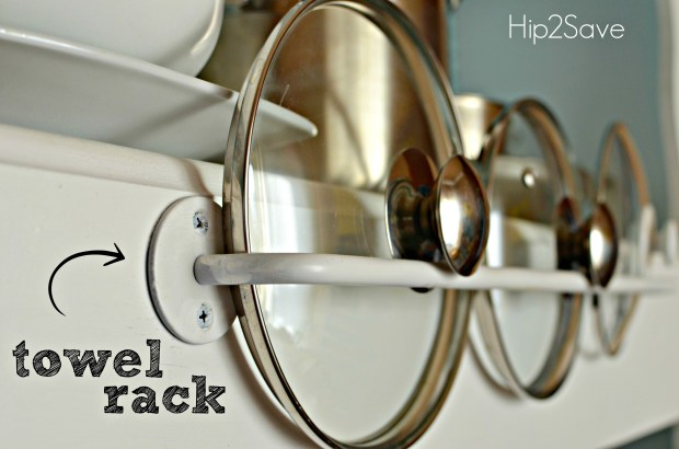towel rack organizes pot lids Hip2Save