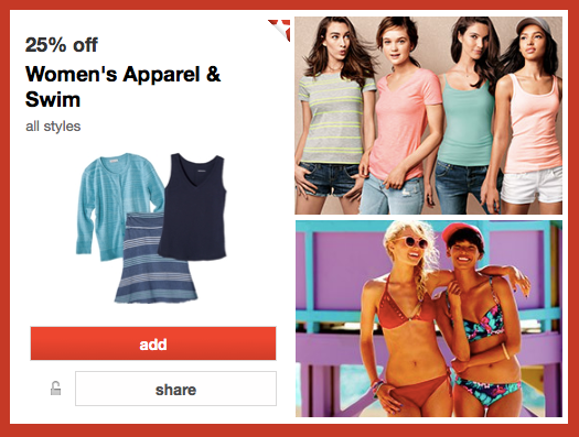 c278e2cfdd0 Calling all you Target shoppers! Hop over here to load a new 25% off Women s  Apparel   Swimwear Cartwheel Offer (exp 8 2). Use this offer to save on  shirts