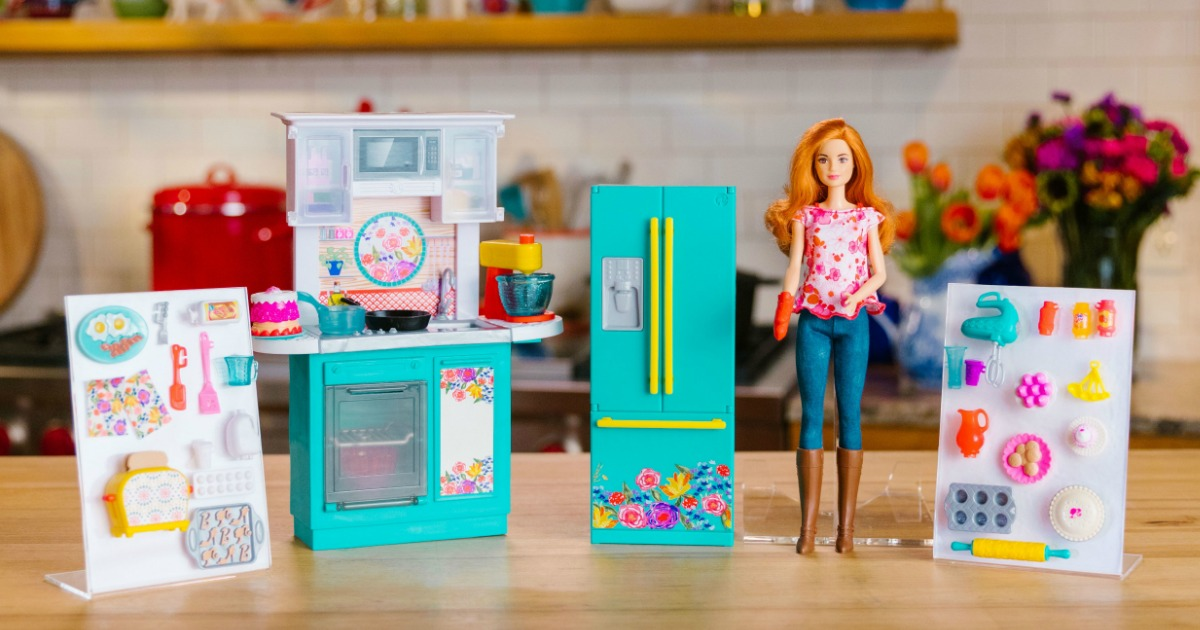 barbie kitchen playset kraus sinks pre order pioneer woman just 44 88 shipped this comes with a ree drummond inspired and over 30 accessories including cookware grocery items completed dishes desserts