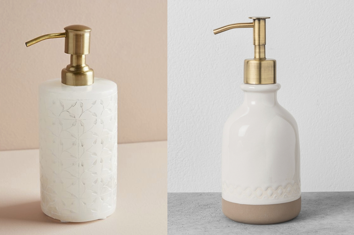 Anthropologie and Target soap dispensers