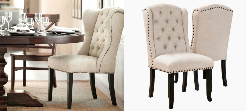 Pottery Barn Overstock Tufted Dining Room Chairs comparison side by side