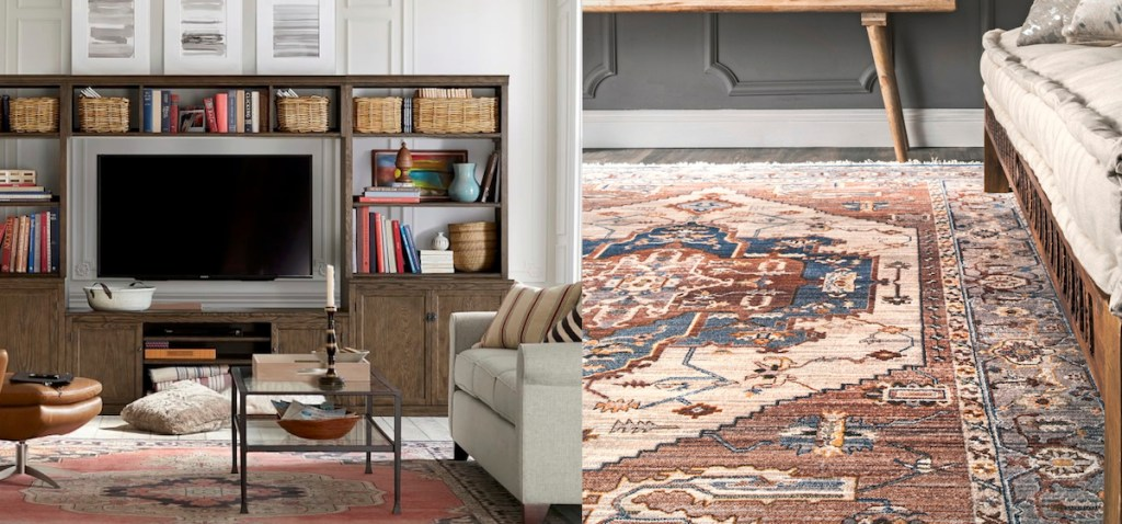 Pottery Barn Rugs USA medallion red rugs comparison side by side photos
