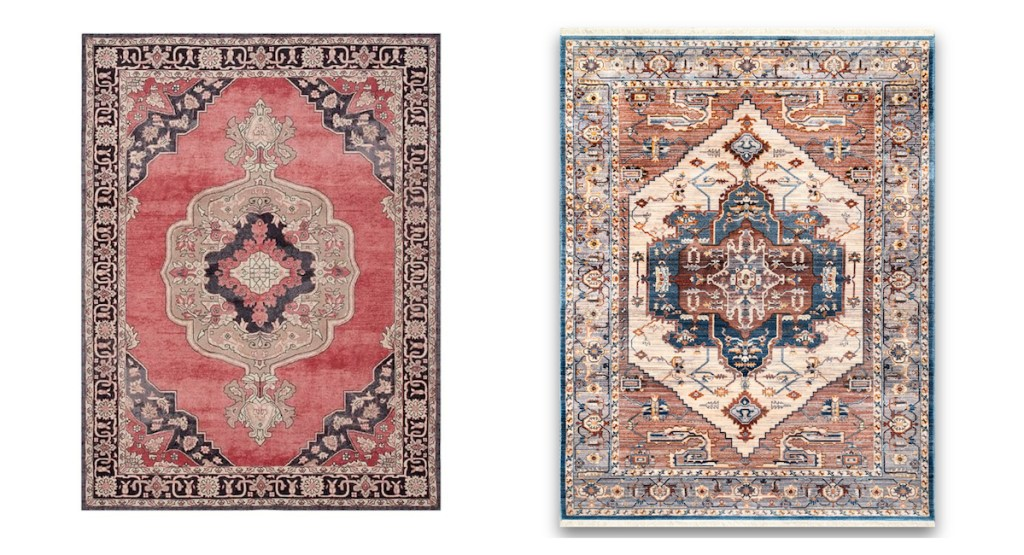 pottery barn rugs usa medallion rugs comparison side-by-side
