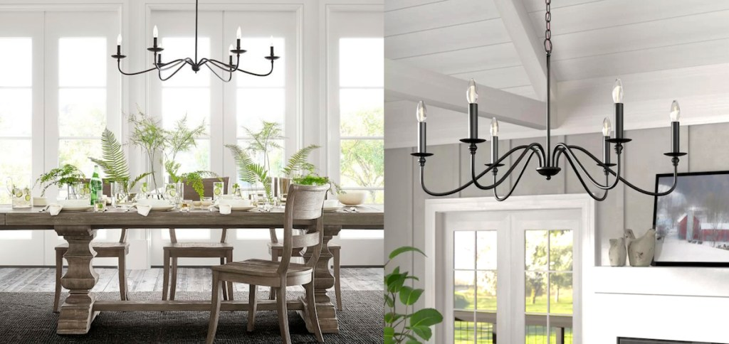pottery barn wayfair chandelier iron lights copycats side-by-side photos