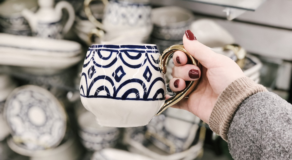 Hobby lobby blue arches coffee mug