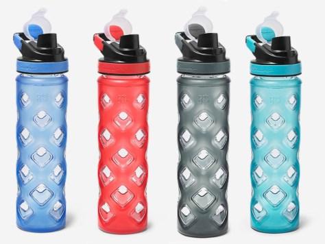 blue, red, black, and teal Blocktagon Bottle 22 oz