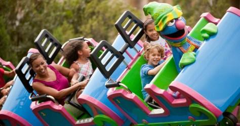 kids on Sesame Street rollercoaster