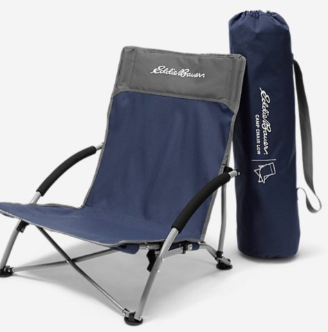 blue low eddie bauer chair