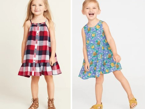 toddler girls red white blue plaid dress and pineapple dress
