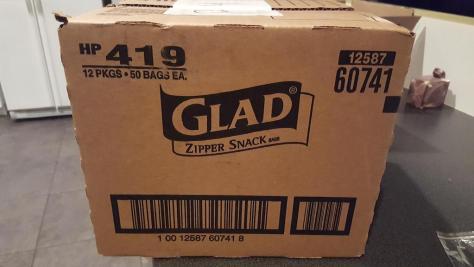 huge box of Glad zipper snack bags