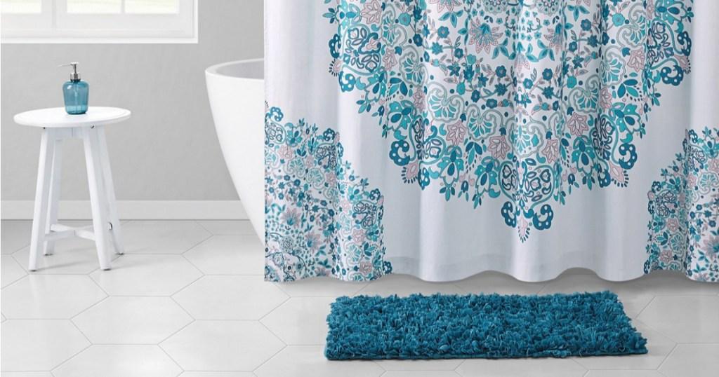 shower curtain rug