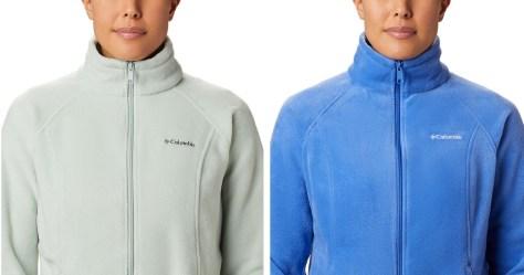 2 women wearing colubmbia fleece jackets