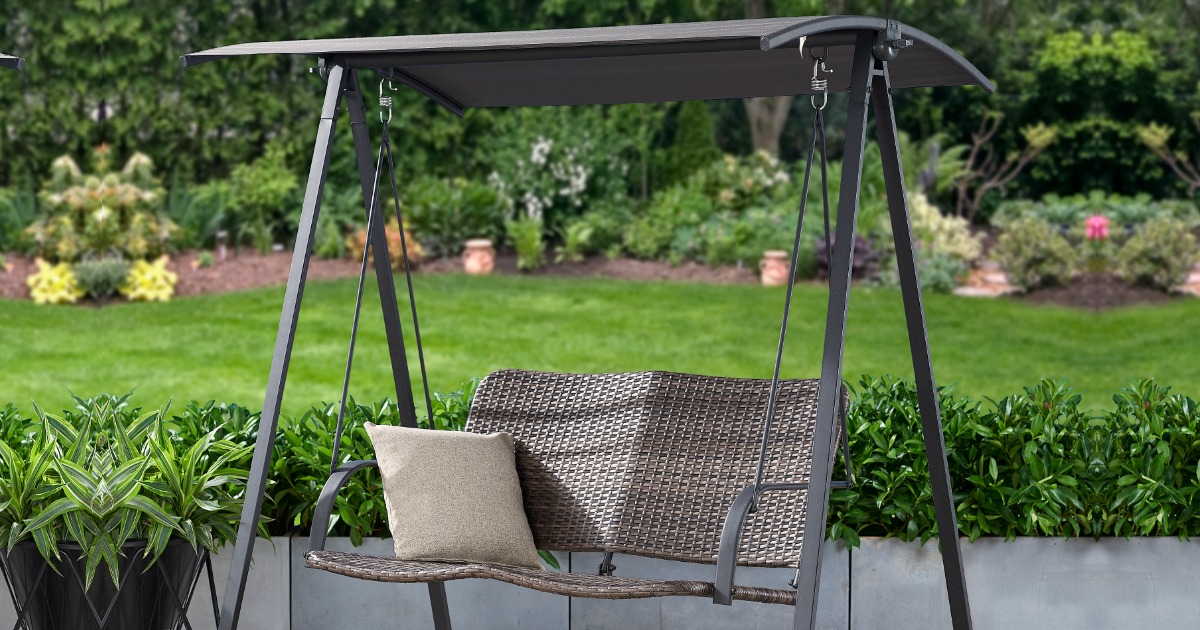 mainstays canopy wicker patio swing