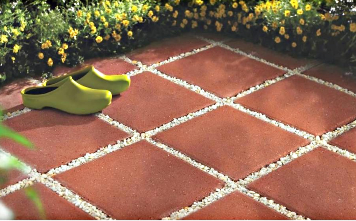 square concrete patio stones only 1 on