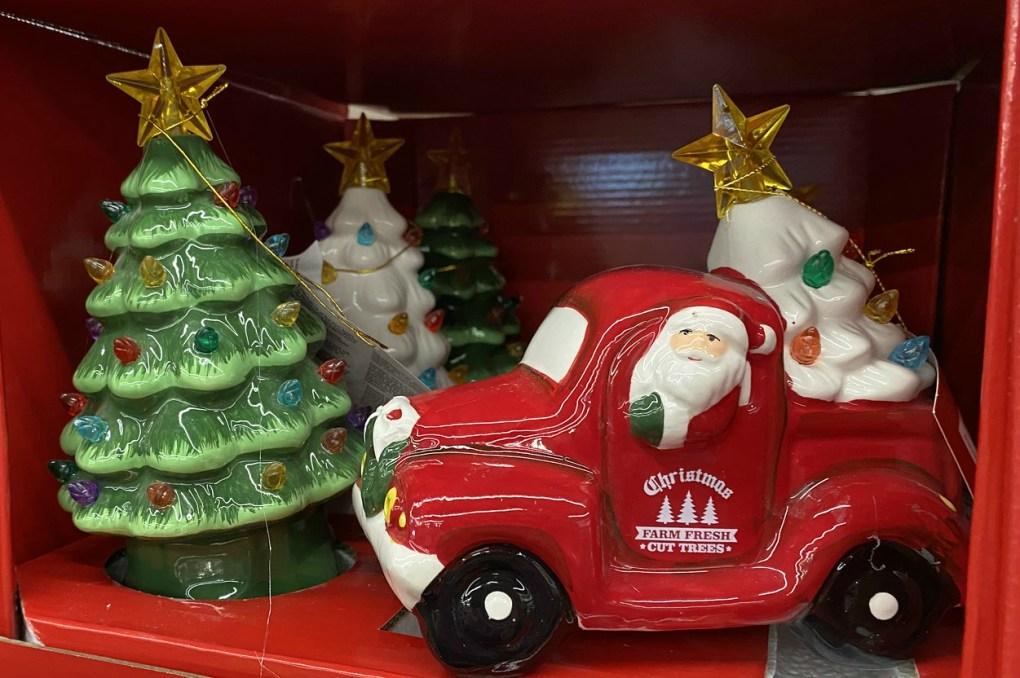 Mini Christmas Trees and Santa