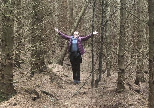 View through the trees, Woman stands like a tree arms outstretched