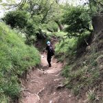 Hip2trek kid on steep rocky bridleway