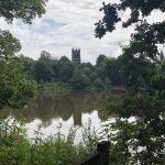 view across lake to church