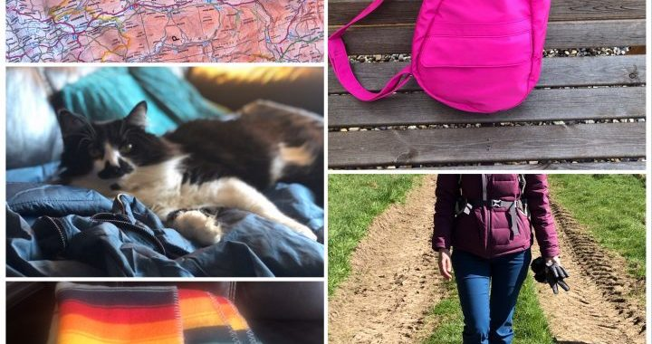 Collage of photos shows bag, tousers and blankets